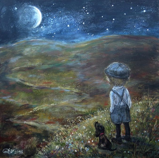 Boy and dog, starry night, Nino