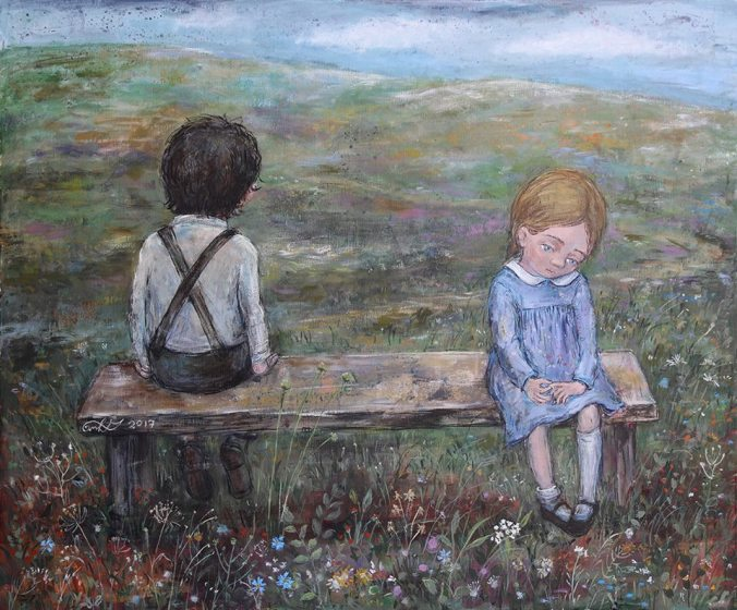 Boy and girl on a bench, Nino's art
